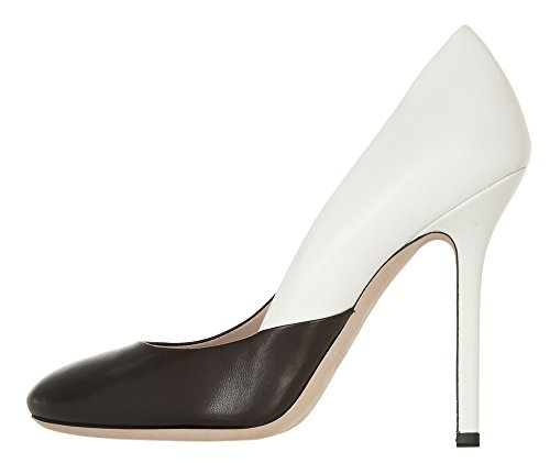 Guoar-Womens-Stiletto-Heel-Sandals-Big-Size-Shoes-Round-Toe-Pumps-for-Wedding-Party-Dress-White-and-Black-US5-0