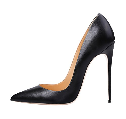 Guoar-womens-Pointed-Toe-High-Heels-Black-Soft-Leather-Pumps-Shoes-for-Party-Banquet-Shoes-size-5-12-US-8-0
