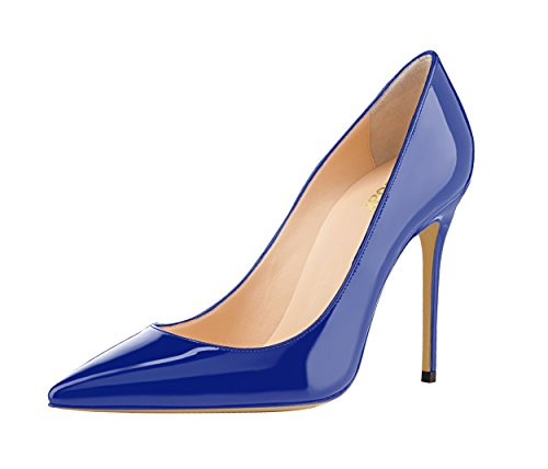 Guoar-womens-Pointed-toe-Shallow-Mouth-10CM-Stiletto-high-heel-Royalblue-pumps-Size-4-12-US-95-0