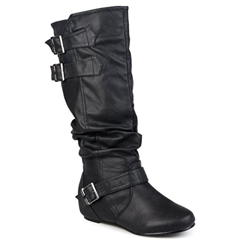 Journee-Collection-Womens-Regular-Sized-and-Wide-Calf-Buckle-Slouch-Low-Wedge-Boot-Black-8-0