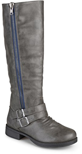 Journee-Collection-Womens-Regular-Sized-and-Wide-Calf-Side-Zipper-Buckle-Knee-High-Riding-Boot-Grey-85-Wide-Calf-0