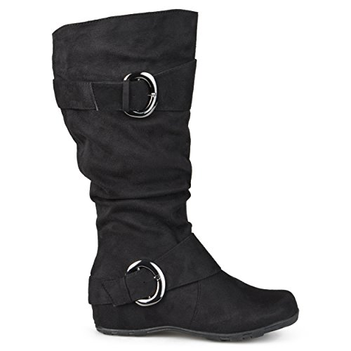 Journee-Collection-Womens-Regular-Sized-and-Wide-Calf-Slouch-Buckle-Knee-High-Microsuede-Boot-Black-10-Wide-Calf-0-4