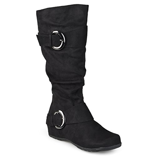 Journee-Collection-Womens-Regular-Sized-and-Wide-Calf-Slouch-Buckle-Knee-High-Microsuede-Boot-Black-10-Wide-Calf-0