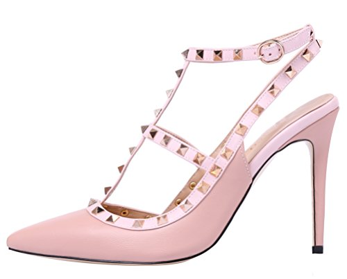 MONICOCO-Womens-Stiletto-Heels-Pumps-with-Studded-T-strap-Shoes-Beige-PU-11-M-US-0-0