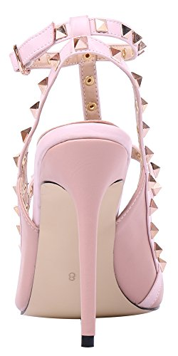 MONICOCO-Womens-Stiletto-Heels-Pumps-with-Studded-T-strap-Shoes-Beige-PU-11-M-US-0-1