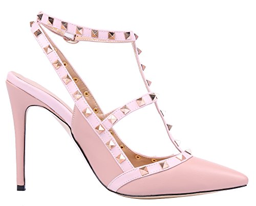 MONICOCO-Womens-Stiletto-Heels-Pumps-with-Studded-T-strap-Shoes-Beige-PU-11-M-US-0-2