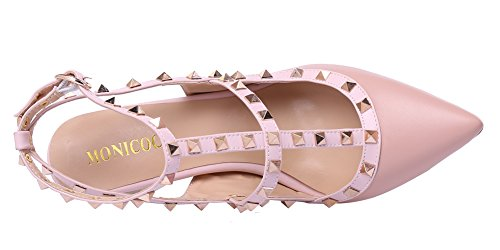 MONICOCO-Womens-Stiletto-Heels-Pumps-with-Studded-T-strap-Shoes-Beige-PU-11-M-US-0-4