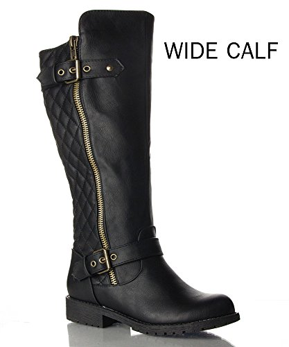 RF-Vivienne-21-WIDE-CALF-Motorcycle-Boots-Black-PU-Size-7-0