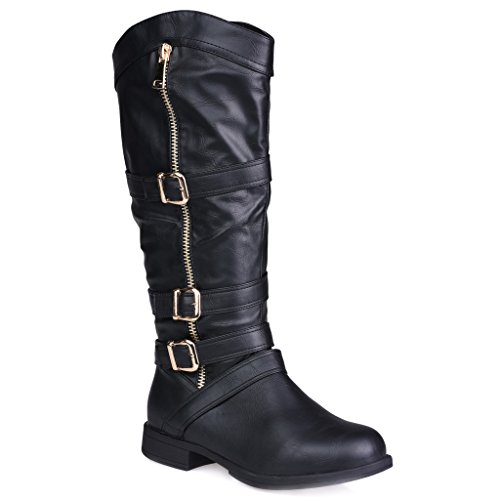 Twisted-Womens-AMIRA-Wide-WidthWide-Calf-Faux-Leather-Knee-High-Western-Flat-Riding-Boot-with-Multi-Buckle-Straps-BLACK-Size-7-0