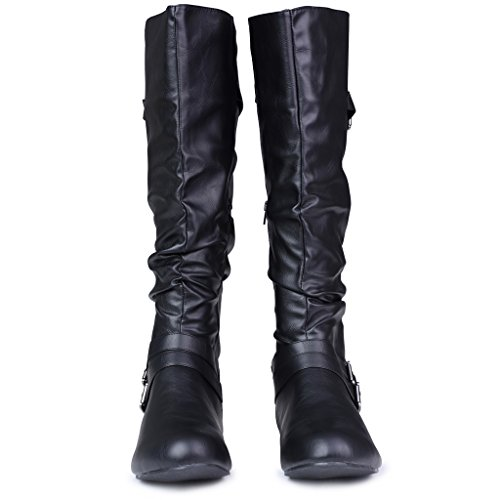 Twisted-Womens-SHELLY-Wide-WidthWide-Calf-Faux-Leather-Knee-High-Scrunch-Buckle-Strap-Riding-Boot-BLACK-Size-9-0-0