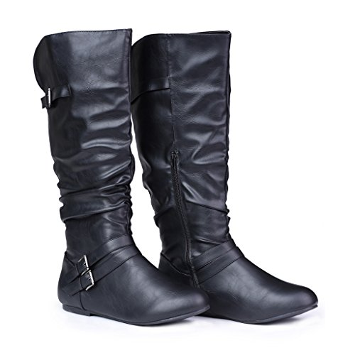 Twisted-Womens-SHELLY-Wide-WidthWide-Calf-Faux-Leather-Knee-High-Scrunch-Buckle-Strap-Riding-Boot-BLACK-Size-9-0-1