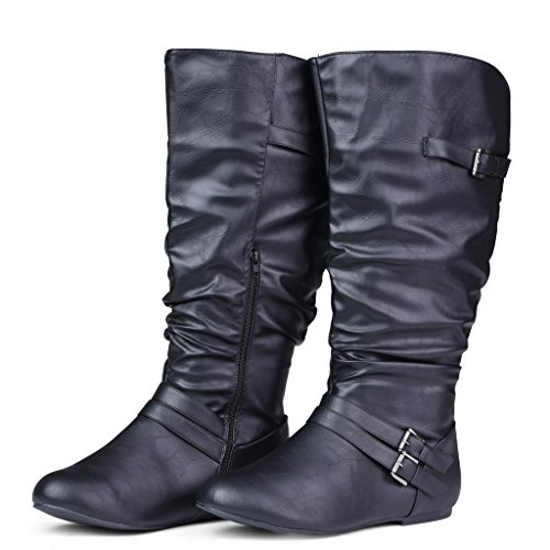 Twisted-Womens-SHELLY-Wide-WidthWide-Calf-Faux-Leather-Knee-High-Scrunch-Buckle-Strap-Riding-Boot-BLACK-Size-9-0-2