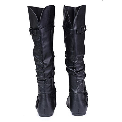 Twisted-Womens-SHELLY-Wide-WidthWide-Calf-Faux-Leather-Knee-High-Scrunch-Buckle-Strap-Riding-Boot-BLACK-Size-9-0-3