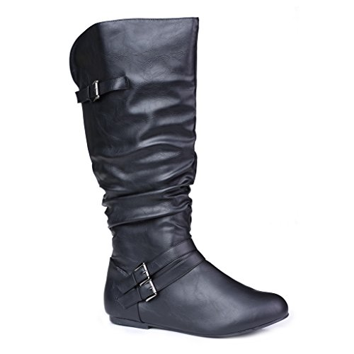 Twisted-Womens-SHELLY-Wide-WidthWide-Calf-Faux-Leather-Knee-High-Scrunch-Buckle-Strap-Riding-Boot-BLACK-Size-9-0