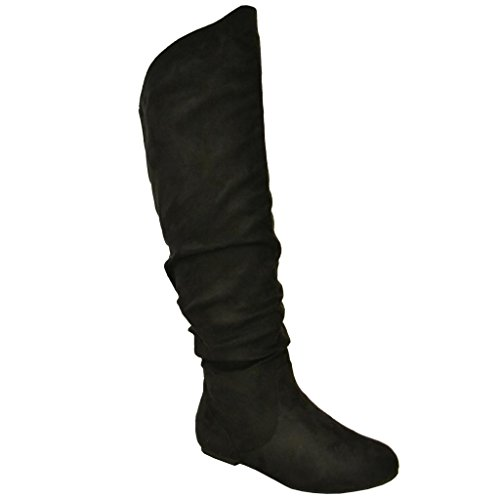 Twisted-Womens-Shelly-Wide-Calf-Faux-Suede-Knee-High-Slouchy-Boot-SHELLY80SP-BLACK-Size-10-0-0