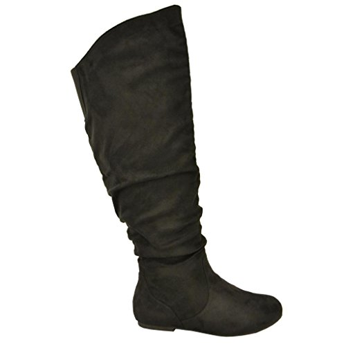 Twisted-Womens-Shelly-Wide-Calf-Faux-Suede-Knee-High-Slouchy-Boot-SHELLY80SP-BLACK-Size-10-0-1