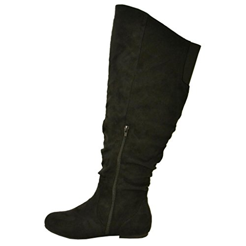 Twisted-Womens-Shelly-Wide-Calf-Faux-Suede-Knee-High-Slouchy-Boot-SHELLY80SP-BLACK-Size-10-0-2