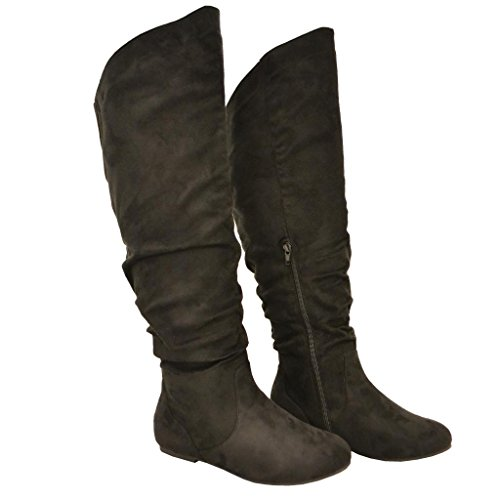 Twisted-Womens-Shelly-Wide-Calf-Faux-Suede-Knee-High-Slouchy-Boot-SHELLY80SP-BLACK-Size-10-0