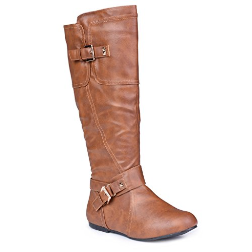 Twisted-Womens-Shelly-Wide-Width-Wide-Calf-Stitched-Pannel-Tall-Boots-with-Pyramid-Studs-COGNAC-Size-10-0