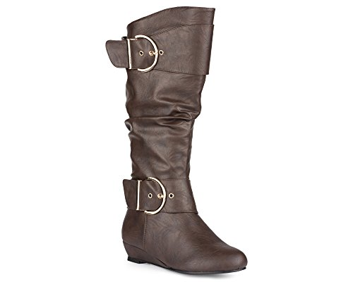 Twisted-Womens-Tara-Wide-Calf-Wedge-Fashion-Boot-TARA07P-BROWN-Size-9-0