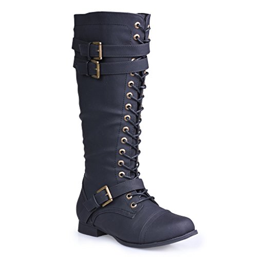 Twisted-Womens-Trooper-Knee-High-Extended-Calf-Faux-Leather-Military-Boot-TROOPER81P-BLACK-Size-10-0