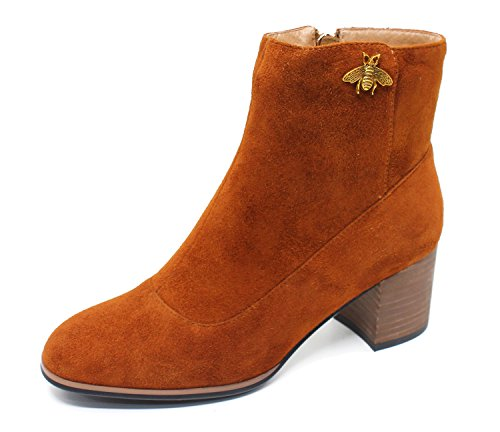 Guoar-Women-Fashion-Round-Toe-Block-Heels-Faux-Suede-Dress-Zipper-Ankle-Boots-0
