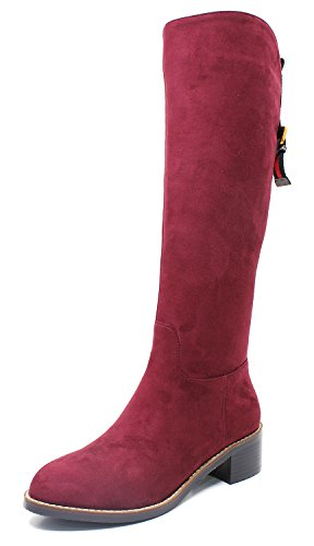 Guoar-Women-Round-Toe-Block-Heels-Knee-High-Comfortable-Mid-Calf-Boots-0
