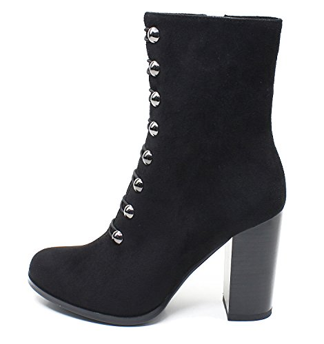 Guoar-Women-Round-Toe-Chunky-High-Heels-Zipper-Dress-Ankle-Booties-0