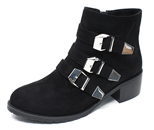 Guoar-Womens-Closed-Toe-Three-Bands-Buckle-Zipper-Ankle-Boots-shoes-0-0