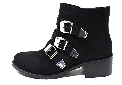 Guoar-Womens-Closed-Toe-Three-Bands-Buckle-Zipper-Ankle-Boots-shoes-0