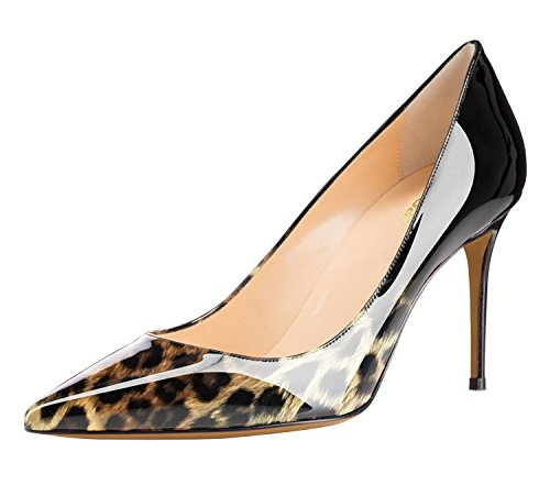 Guoar-Womens-Flattering-Gradient-Pointed-Toe-High-Heels-Stiletto-Grossy-Pumps-Dress-Shoes-size-5-12-Black-Leopard-US-9-0