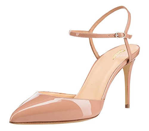 Guoar-Womens-Pointed-Toe-High-Heel-Shoes-Stiletto-Ankle-Strap-Heeled-Sandals-Pumps-size-5-12-Nude-US-8-0