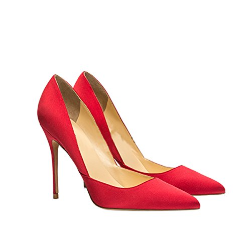 Guoar-Womens-Pointed-Toe-High-Heel-Shoes-Stiletto-Pumps-V-Cut-Dress-Shoes-size-5-12-Red-Satin-US-8-0-0