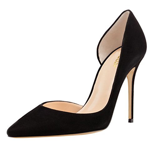 Guoar-Womens-Pointy-Toe-Stiletto-High-Heesl-DOrsay-Pumps-Party-Wedding-Prom-Dress-Shoes-size-5-12-Black-Suede-US-12-0