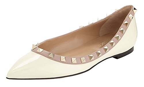 MONICOCO-Womens-Flat-Shoes-Pointed-Toe-Studded-Patent-Pump-0