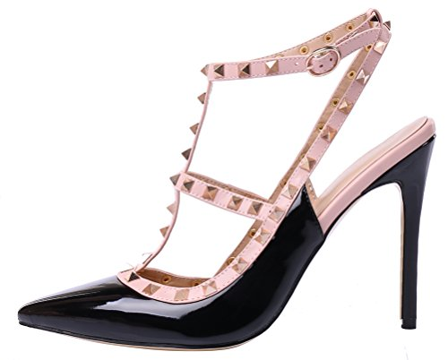 MONICOCO-Womens-Stiletto-Heels-Pumps-with-Studded-T-strap-Shoes-Black-Patent-13-M-US-0