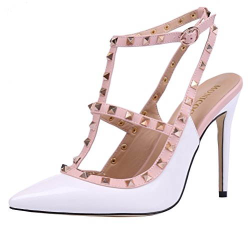 MONICOCO-Womens-Stiletto-Heels-Pumps-with-Studded-T-strap-Shoes-White-Patent-12-M-US-0-0