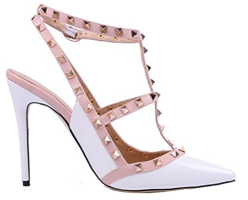 MONICOCO-Womens-Stiletto-Heels-Pumps-with-Studded-T-strap-Shoes-White-Patent-12-M-US-0-2