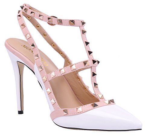 MONICOCO-Womens-Stiletto-Heels-Pumps-with-Studded-T-strap-Shoes-White-Patent-12-M-US-0-3