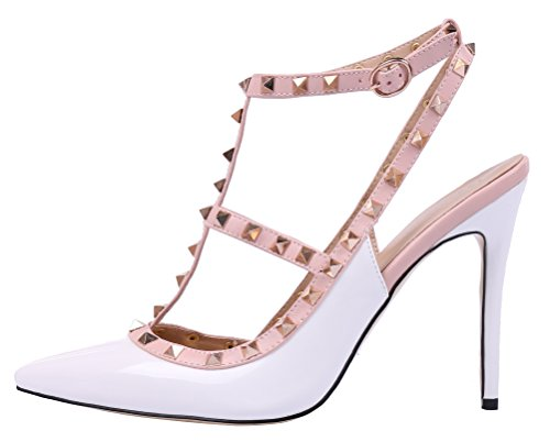 MONICOCO-Womens-Stiletto-Heels-Pumps-with-Studded-T-strap-Shoes-White-Patent-12-M-US-0