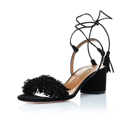 Modemoven-Womens-Black-Open-Toe-Tassel-Block-Heeled-Sandals-Ladies-Self-tie-Mid-Heels-Shoes-65CM-9-M-US-0