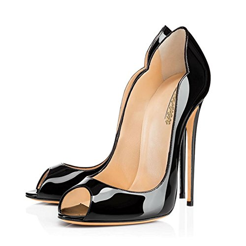 Modemoven-Womens-Black-Patent-Leather-Peep-Toe-Pumps-Gorgeous-Stiletto-High-Heels-Plus-Size-Wedding-Party-Shoes-115-M-US-0-1