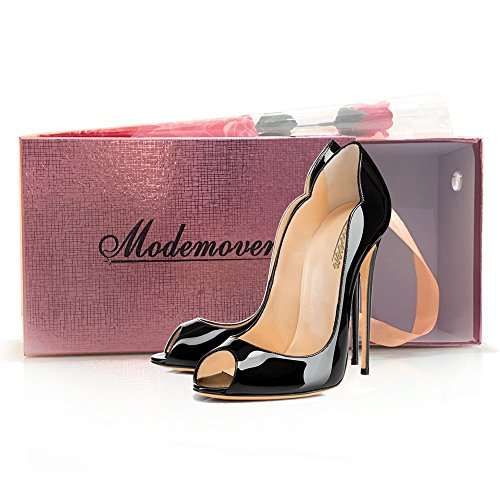 Modemoven-Womens-Black-Patent-Leather-Peep-Toe-Pumps-Gorgeous-Stiletto-High-Heels-Plus-Size-Wedding-Party-Shoes-115-M-US-0-5