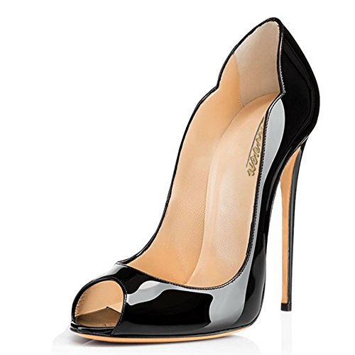 Modemoven-Womens-Black-Patent-Leather-Peep-Toe-Pumps-Gorgeous-Stiletto-High-Heels-Plus-Size-Wedding-Party-Shoes-115-M-US-0