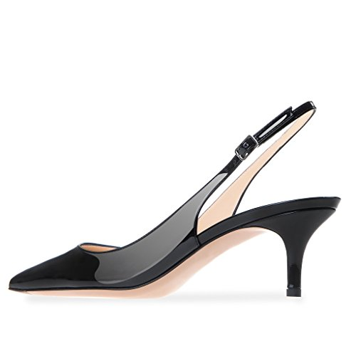 ff92b336306 Modemoven Women s Black Patent Leather Pointed Toe Slingback Ankle ...