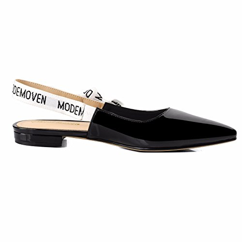Modemoven-Womens-Black-Patent-Leather-Sling-back-Ballet-PumpsFlat-Shoes-for-WomenSlip-On-LoafersSexy-Mules-5-M-US-0-1