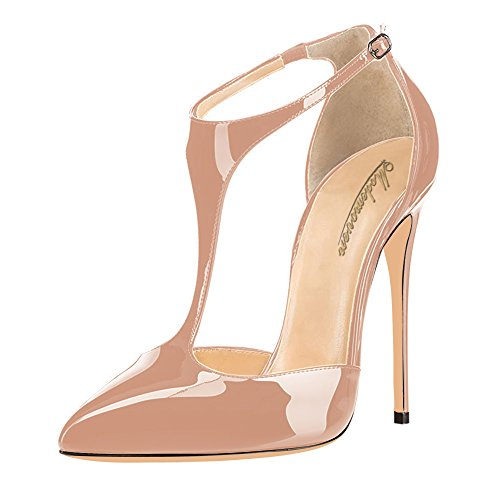 Modemoven-Womens-Pointed-Toe-StilettosT-Strap-High-HeelsPatent-Leather-Dorsay-PumpsSexy-Evening-Shoes-Neutral-75-M-US-0