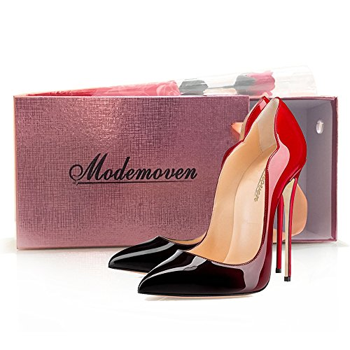 Modemoven-Womens-Sexy-Point-Toe-High-HeelsPatent-Leather-PumpsWedding-Dress-ShoesCute-Evening-Stilettos-Red-and-Black-75-M-US-0-5