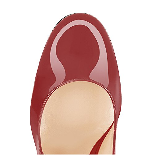 d46a4de792a92 Modemoven Women's Wine Red Sexy Patent Leather Round Toe Block Heels ...