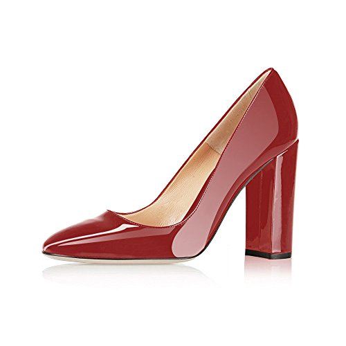 a2bc377b302c4 Modemoven Women's Wine Red Sexy Patent Leather Round Toe Block Heels Pumps  Gorgeous Evening Party Stiletto Shoes – 7.5 M US